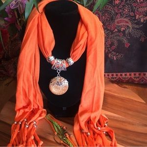 Jeweled Scarf set, Orange and Silver